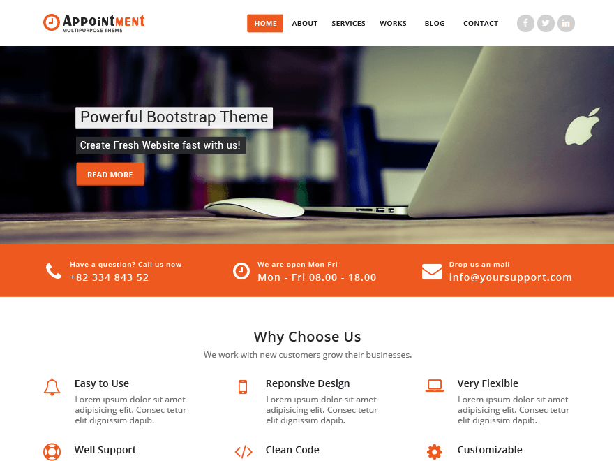 Appointment free wordpress theme