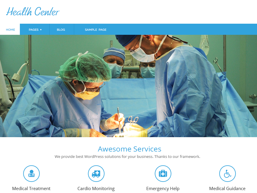 Health Center free wordpress theme