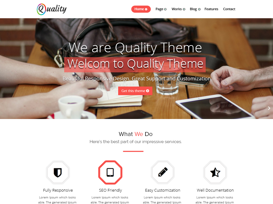 Quality free wordpress theme