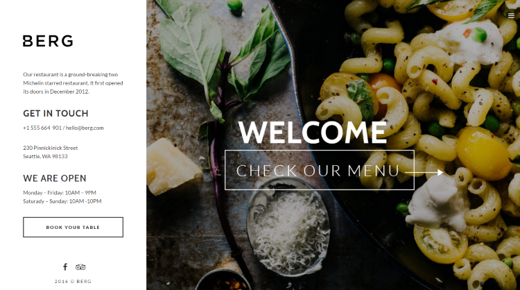 Berg Restaurant WordPress Theme