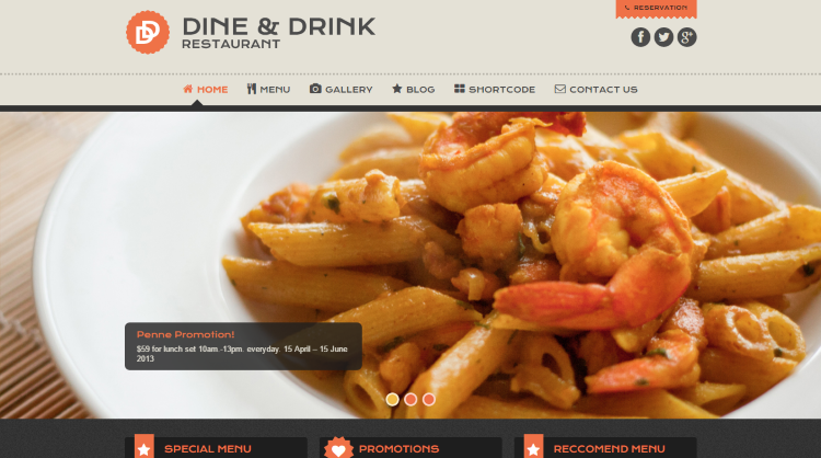 Dine and Drink Restaurant WordPress Theme