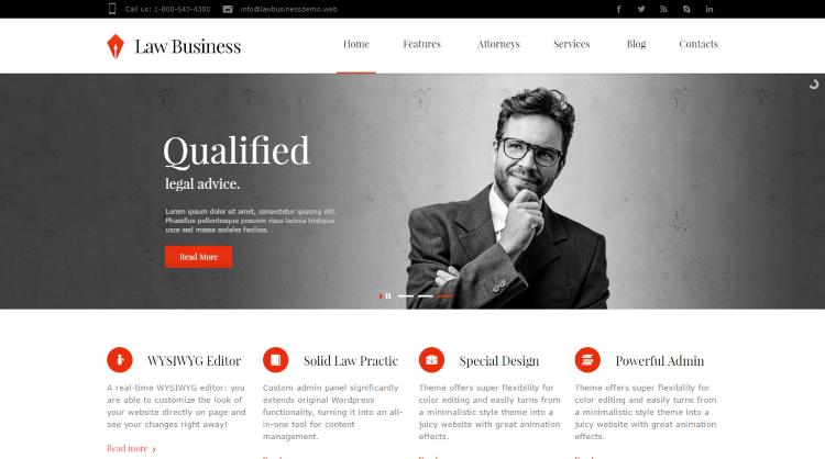 Law Business Lawyer WordPress Theme