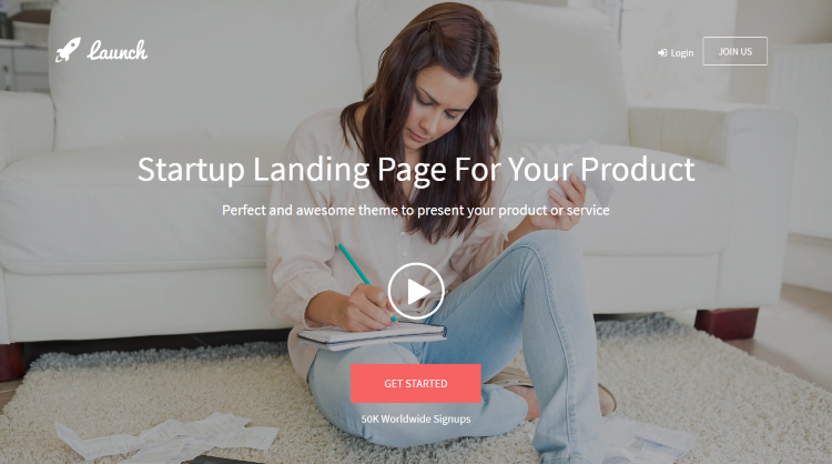 Launch Startup Landing Page WordPress Theme