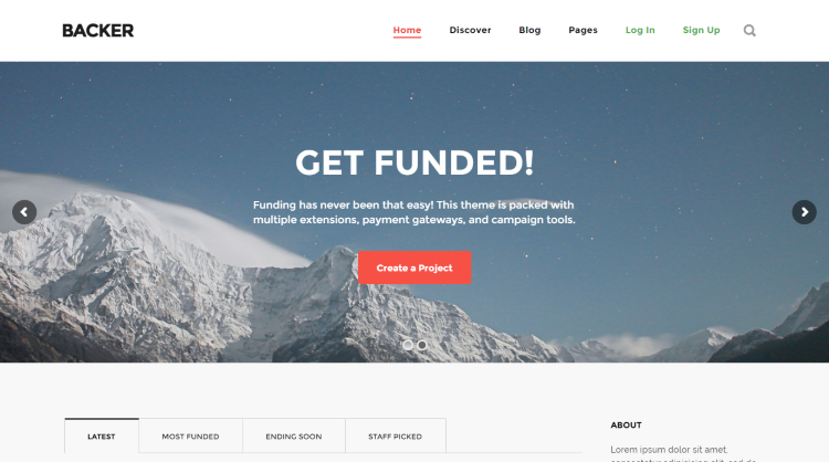 Backer Crowdfunding WordPress Theme
