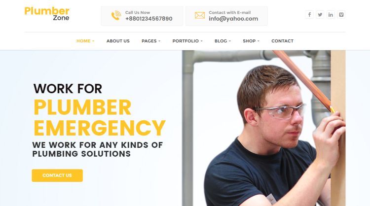 Plumber Zone WordPress Theme - WebRiti
