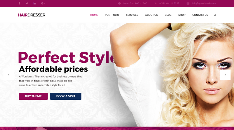 HairDresser Hair Salon WordPress Theme