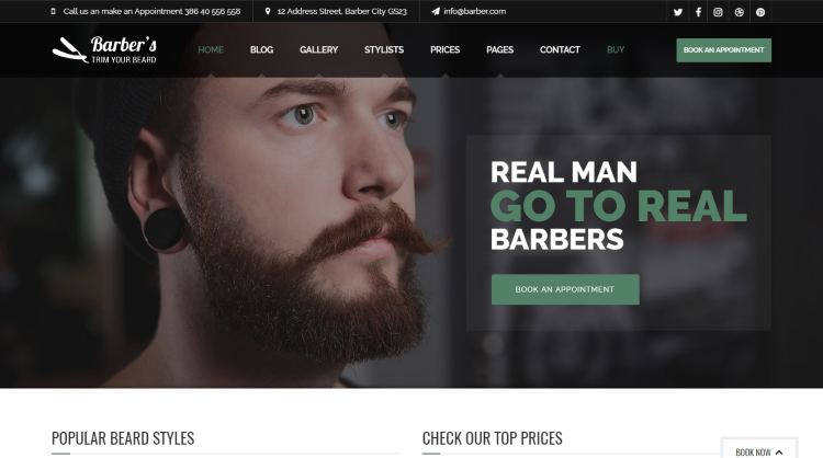 Barber WordPress Theme for Barbers and hair salons