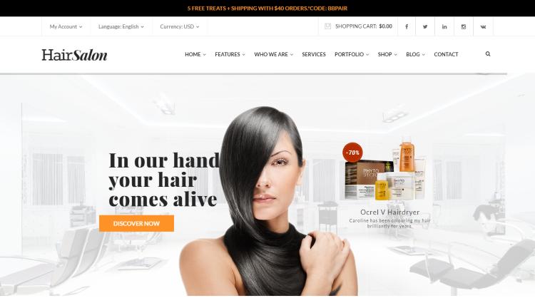 HairSalon Barber WordPress Theme