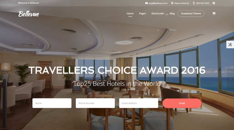 Bellevue Hotel Booking WordPress Theme