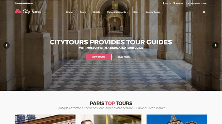 CityTours Hotel and Travel Booking WordPress Theme