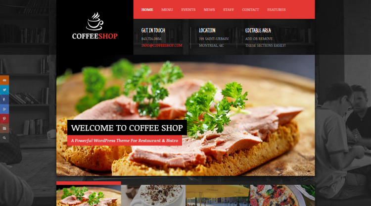 Coffee Shop Restaurant WordPress Theme