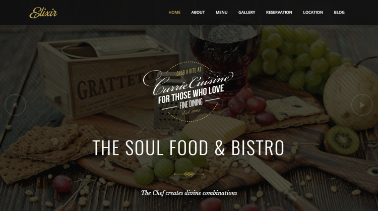 Elixir Restaurant WordPress Theme