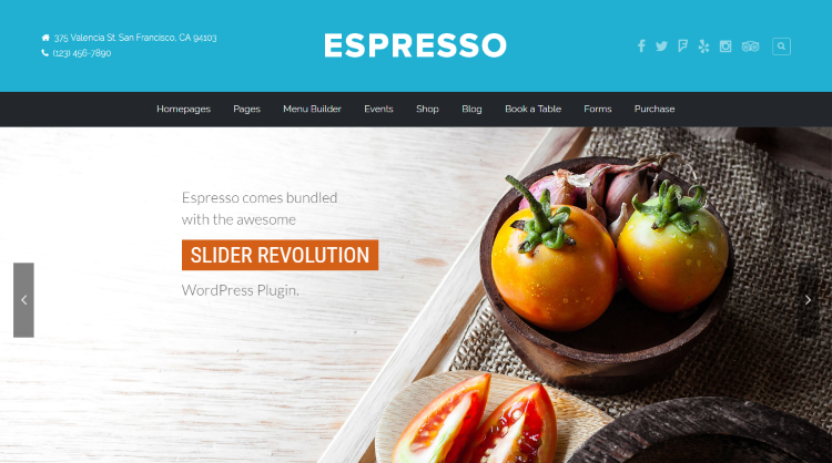 Espresso Restaurant WordPress Theme