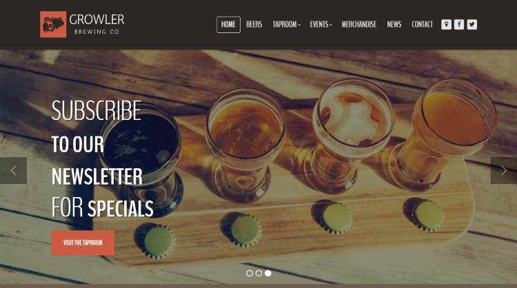 Growler Restaurant WordPress Theme