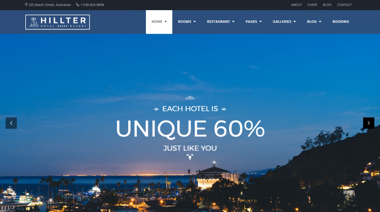Hillter Hotel Booking WordPress Theme