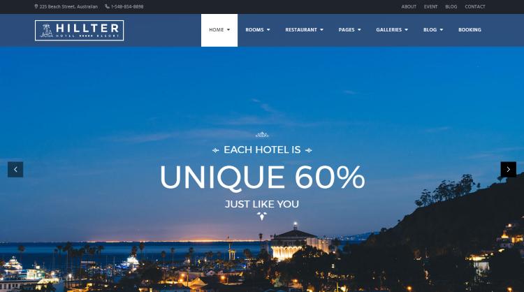Hillter Hotel Booking WordPress Theme