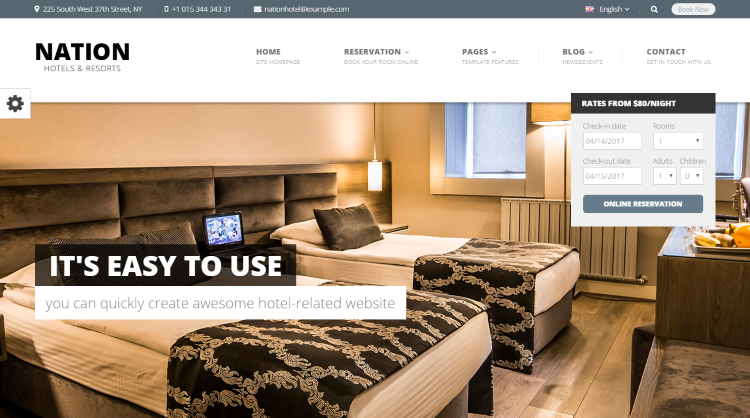 Nation Hotel Booking WordPress Theme