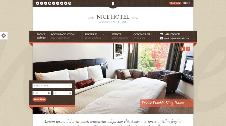 Nice Hotel Booking WordPress Theme
