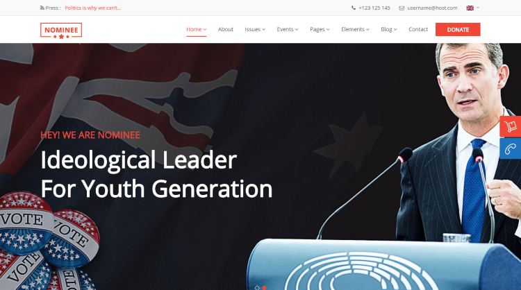 Nominee Political WordPress Theme