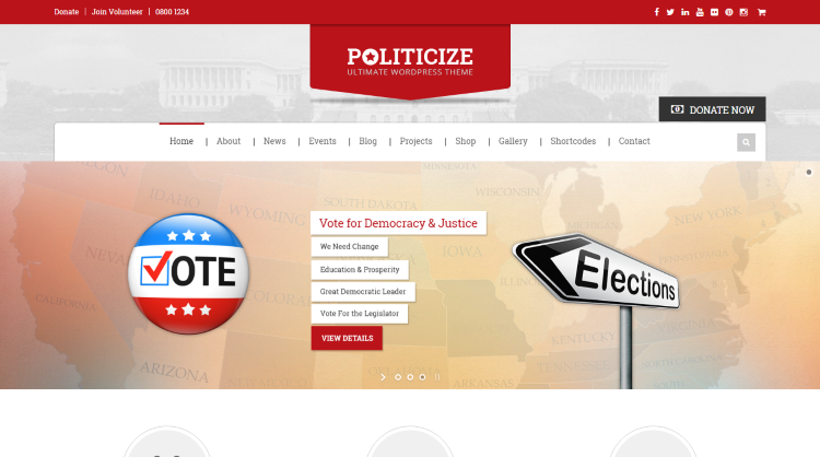 Politicize Political WordPress Theme