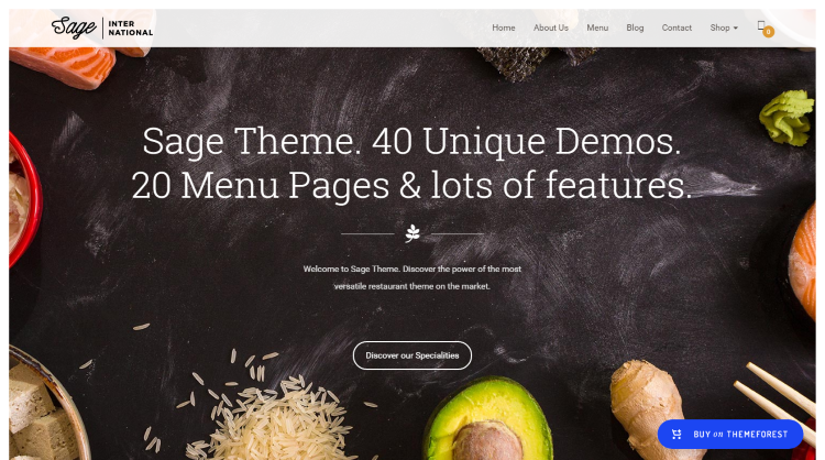 Sage Restaurant WordPress Theme