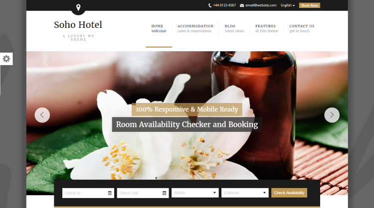 Soho Hotel Booking WordPress Theme