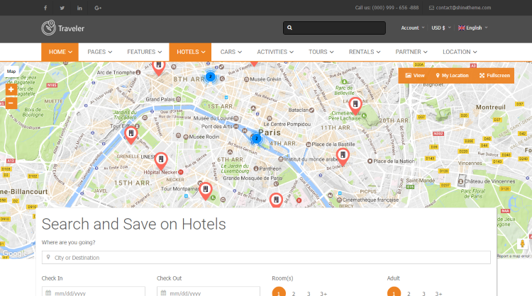 Traveler Travel Hotel Booking WordPress Theme