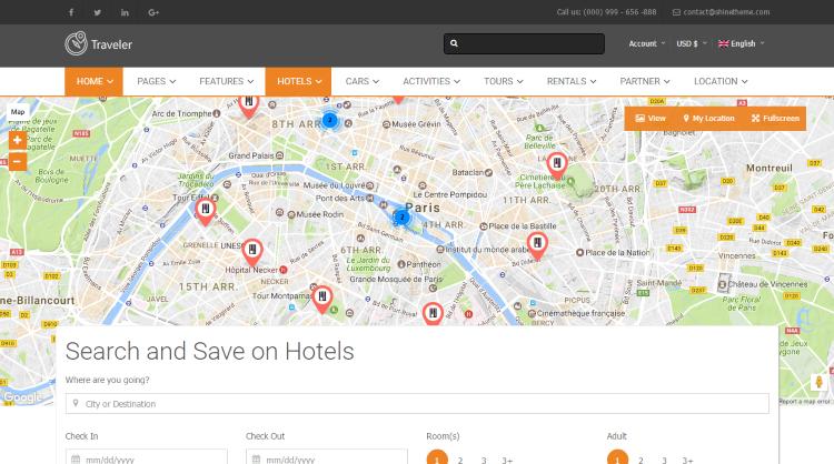 Traveler Travel Hotel Booking WordPress Theme