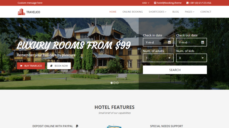 Travelico Hotel Booking WordPress Theme