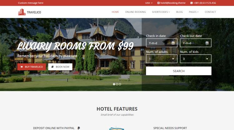 Travelico Hotel Booking WordPress Theme