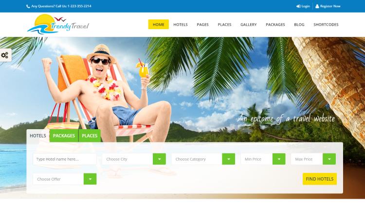 Trendy Travel Booking WordPress Theme