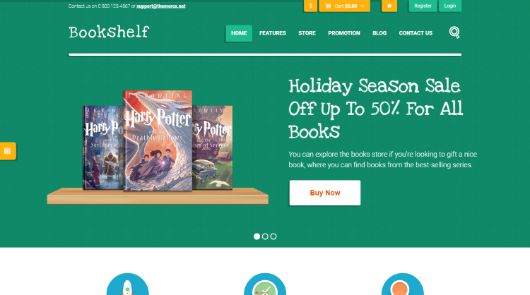 Bookshelf Bookstore WordPress Theme