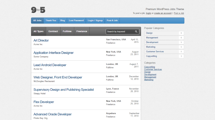 Nine to Five Job Board WordPress Theme