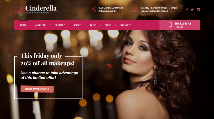 Cinderella - Beauty Hair Spa Salon WordPress Theme