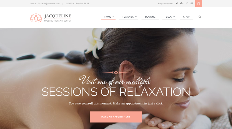 Jacqueline - Spa Massage Salon WordPress Theme