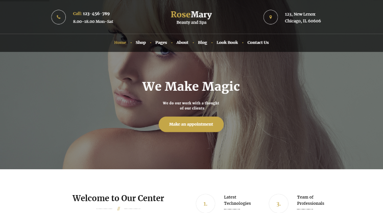 RoseMary - Hair Salon WordPress Theme