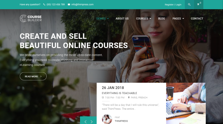 Course Builder WordPress learning management system Theme