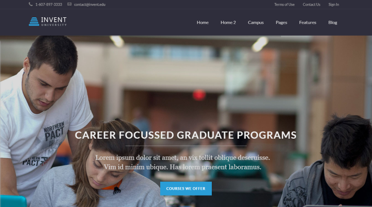 Invent Education course college WordPress Theme