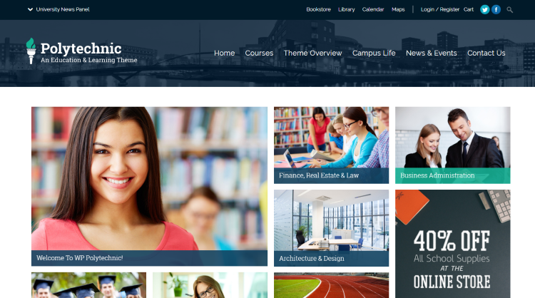 Polytechnic - education courses events WordPress Theme