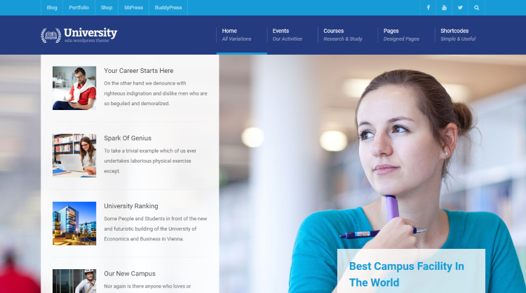 University Education Course WordPress Theme